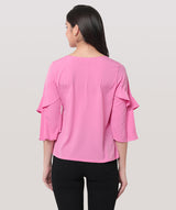 Pink Round Neck Bell Sleeves Top - Raaika Clothing