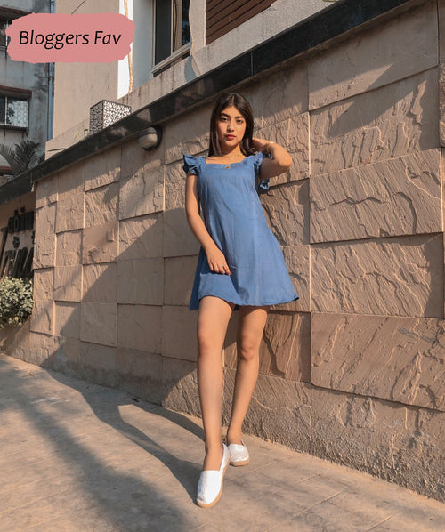 Blue Sleeveless Ruffle Fit and Flare Dress - Raaika Clothing