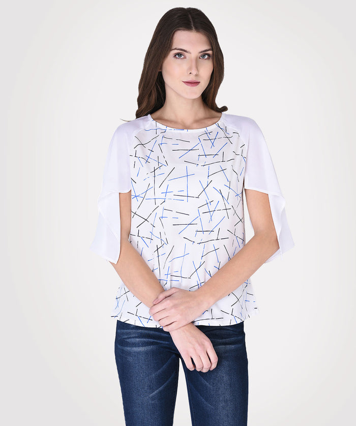 White Round Neck Casual Top - Raaika Clothing