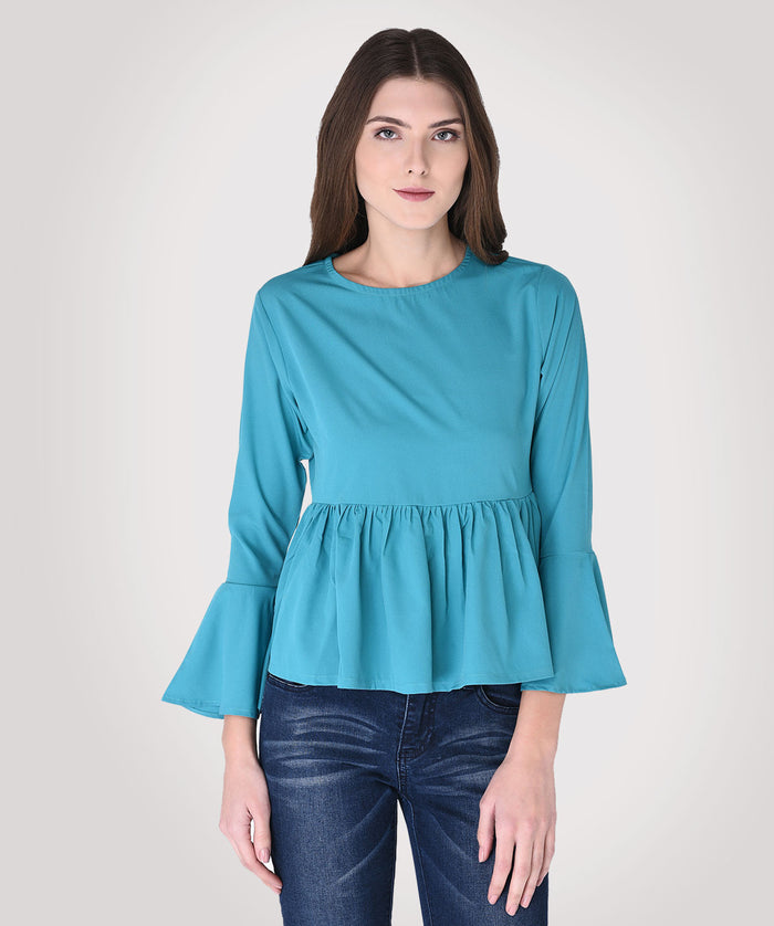 Teal Green Bell Sleeves Peplum Top - Raaika Clothing