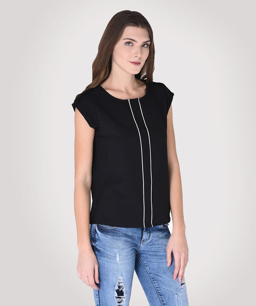 Blue Round Neck Casual Top - Raaika Clothing
