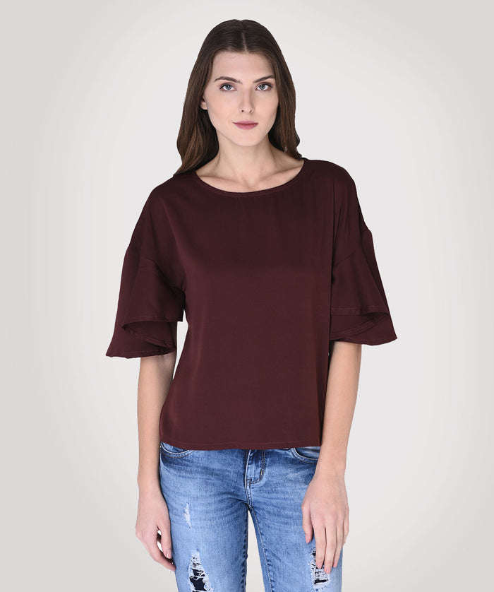 Brown Round Neck 3/4th Sleeves Top - Raaika Clothing