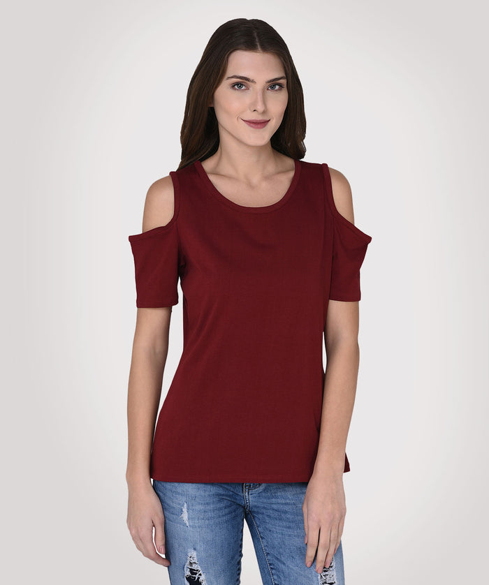 Maroon Cold Shoulder Casual Top - Raaika Clothing