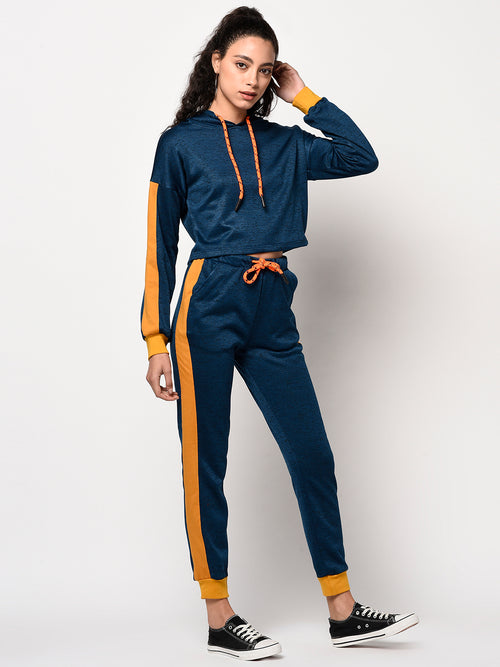 Blue & Mustard Hoodie and Sweatpants Set - Raaika Clothing