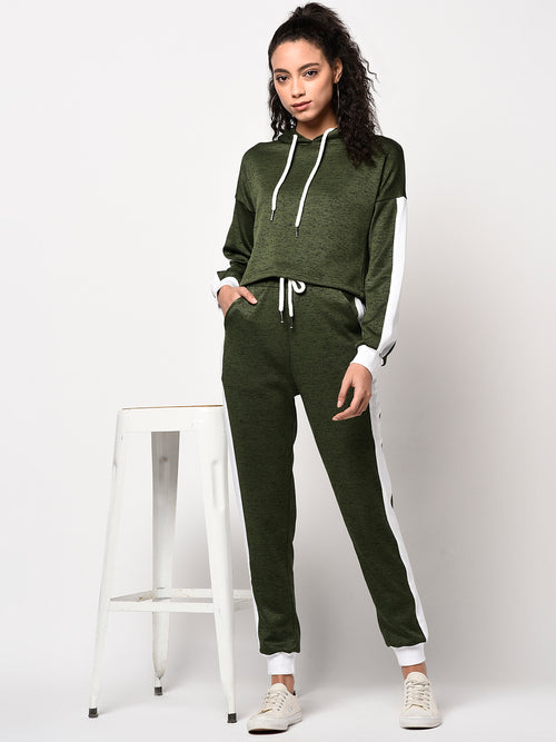 Olive Green & White Hoodie and Sweatpants Set - Raaika Clothing