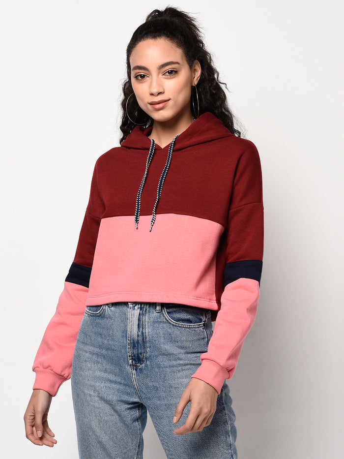 Colorblock Full Sleeve Maroon & Pink Crop Hoodie - Raaika Clothing