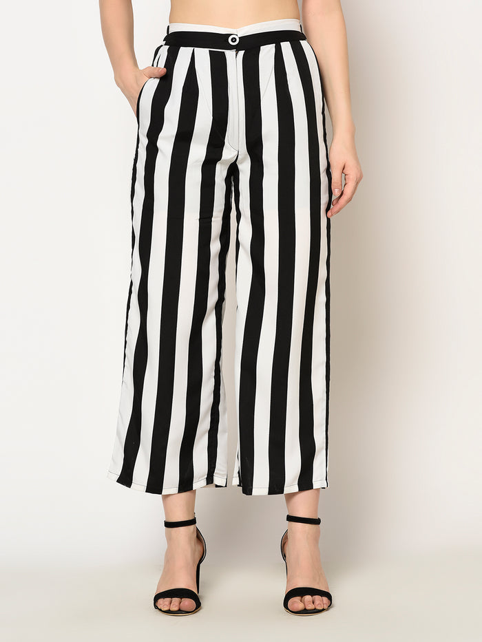 Black And White Stripped Ankle Length Trouser Pant - Raaika Clothing
