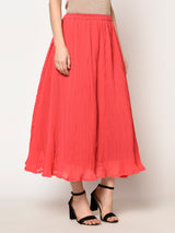 Peach High Waistline A-line Long Skirt - Raaika Clothing