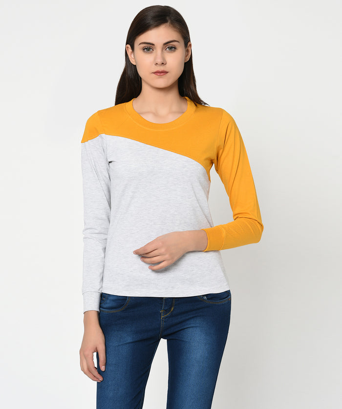 Mustard and White Round Neck Women T-Shirt - Raaika Clothing
