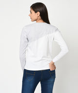 Grey and White Round Neck Women T-Shirt - Raaika Clothing