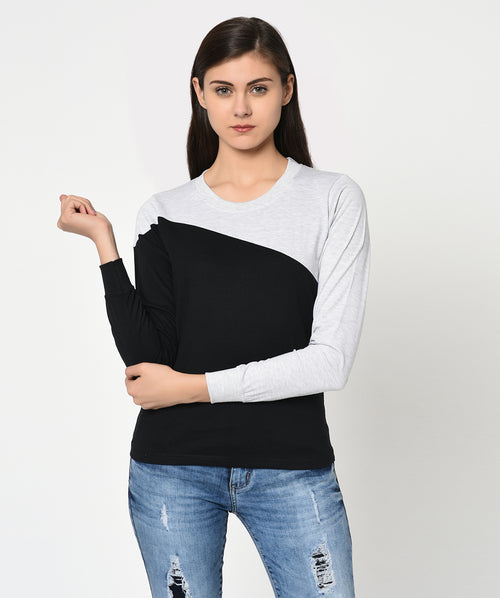 Black and Grey Round Neck Women T-Shirt - Raaika Clothing