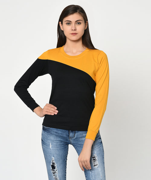 Black and Mustard Round Neck Women T-Shirt - Raaika Clothing
