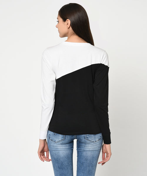 Black and White Round Neck Women T-Shirt - Raaika Clothing