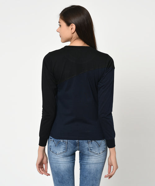 Black and Blue Round Neck Women T-Shirt - Raaika Clothing