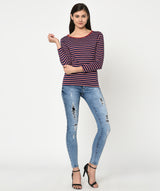 Striped Round Neck 3/4th Sleeves Casual Top - Raaika Clothing