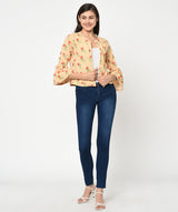 Floral Printed Bell Sleeved Open Jacket - Raaika Clothing