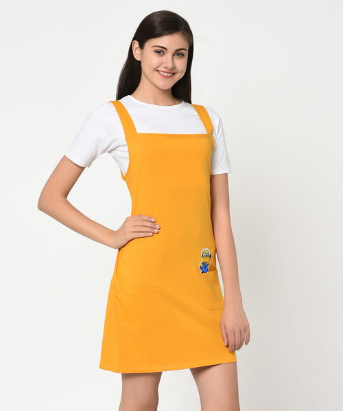 Mustard Yellow Minion Patch T-shirt dress - Raaika Clothing