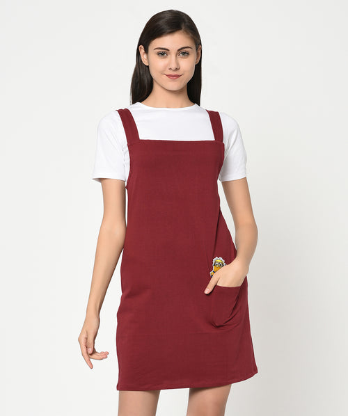 Red Minion Patch T-shirt dress - Raaika Clothing