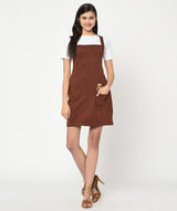 Brown Minion Patch T-shirt dress - Raaika Clothing