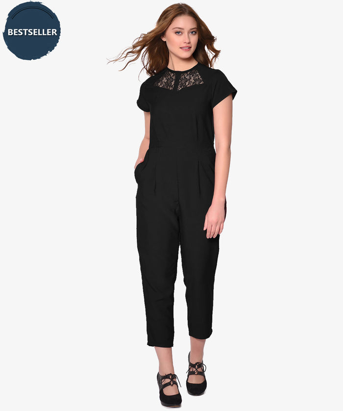 Black Front Lace Slim Fit Party Wear Jumpsuit - Raaika Clothing