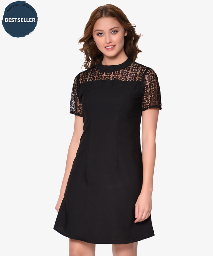 Black Lace Fit and Flare Dress - Raaika Clothing