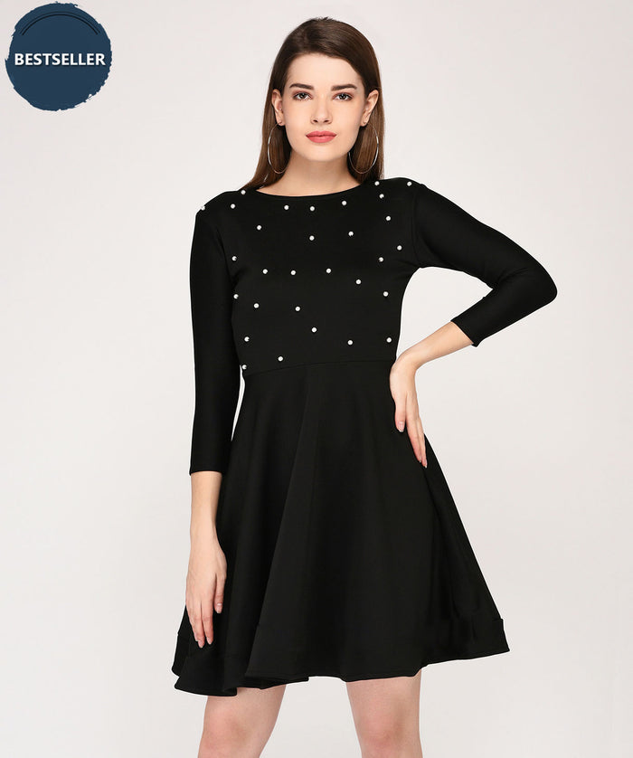 Black Full Sleeves Pearl Fit and Flare Dress - Raaika Clothing