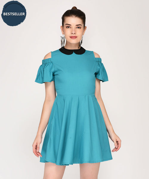 Peter Pan Collared Cut Shoulder Skater Dress - Raaika Clothing