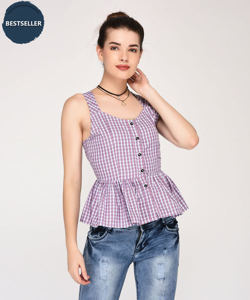 checks on peplum top - Raaika Clothing