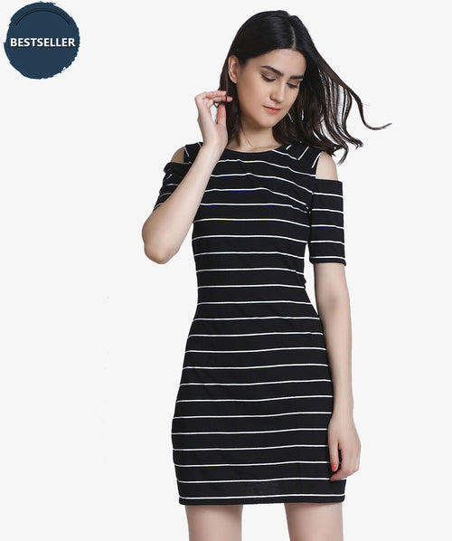 Black Stripped Cold Shoulder Dress - Raaika Clothing