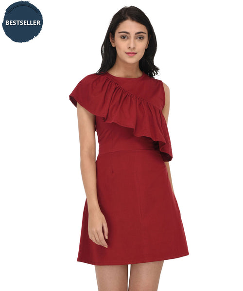 Maroon Ruffle Fit and Flare Dress - Raaika Clothing