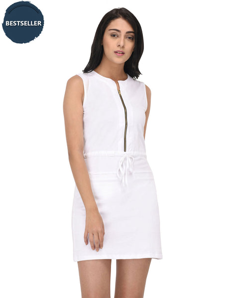 Chained White Sleeveless Bodycon Dress - Raaika Clothing