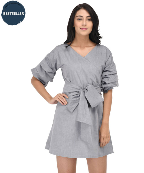 Ruffle Sleeved Grey Wrap Dress - Raaika Clothing