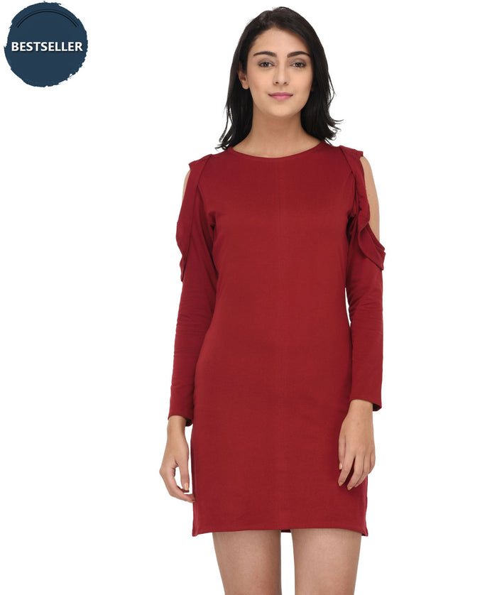 Frilling With Cold Shoulder Dress