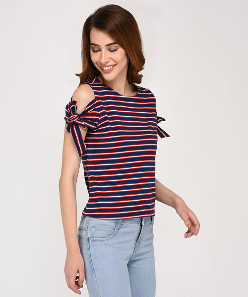 Brown Stripped Cold Shoulder Casual Top - Raaika Clothing