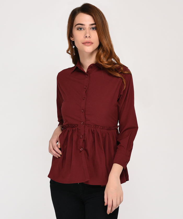 Button Up Maroon Top