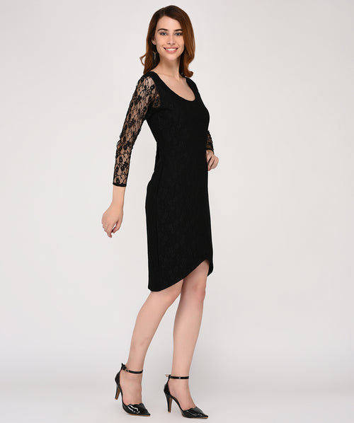 Black Lace 3/4th Sleeves Bodycon Dress - Raaika Clothing