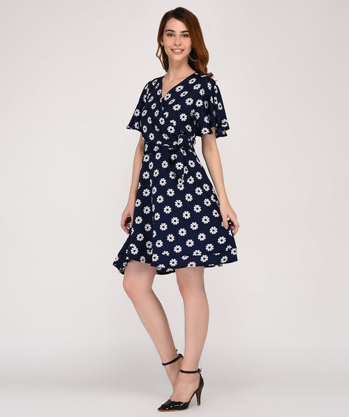 Blue Polka Dotted Wrap Dress - Raaika Clothing