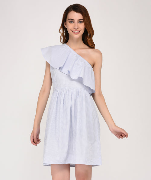White One Shoulder Party Skater Dress - Raaika Clothing