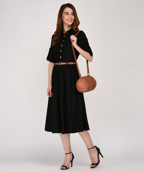 Black Collared 3/4th Sleeves Maxi Dress - Raaika Clothing