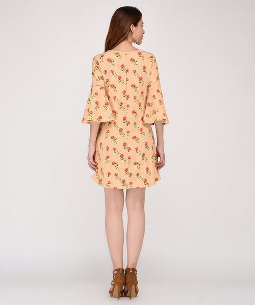 Yellow Bell Sleeves Floral Shift Dress - Raaika Clothing
