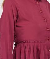 Pink Collared Full Sleeves Peplum Top - Raaika Clothing