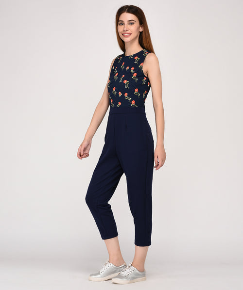 Floral Printed Sleeveless Round Neck Party Wear Jumpsuit - Raaika Clothing