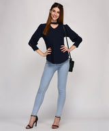 Round Neck Full Sleeves Blue Top - Raaika Clothing
