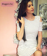 White Stripped Cold Shoulder Dress - Raaika Clothing