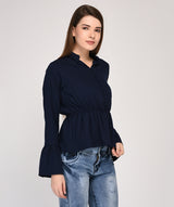 Blue Full Sleeves Peplum Top - Raaika Clothing