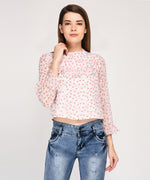 prints on ruffles top