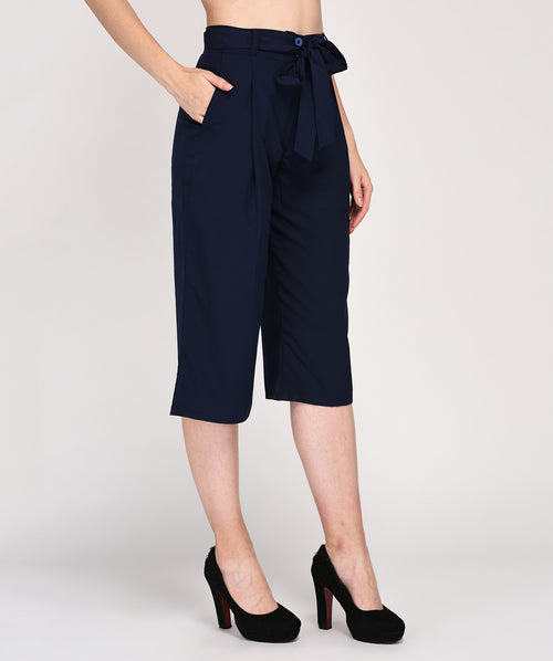 Regular Fit Belted Casual Wear Culotte - Raaika Clothing