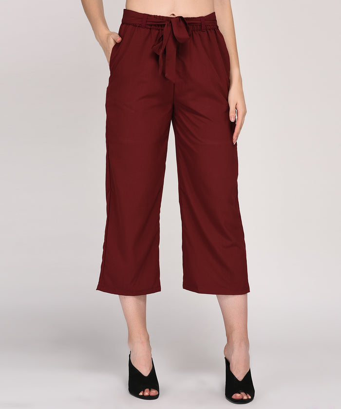 Maroon Regular Fit Belted Casual Culotte - Raaika Clothing
