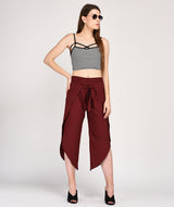 Regular Fit Maroon Wrap Culotte - Raaika Clothing