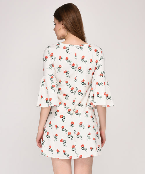 Bell Sleeves White Floral Printed Shift Dress - Raaika Clothing